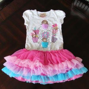 Beautees Tiered Ruffled Tutu Girl's Dress Size 5